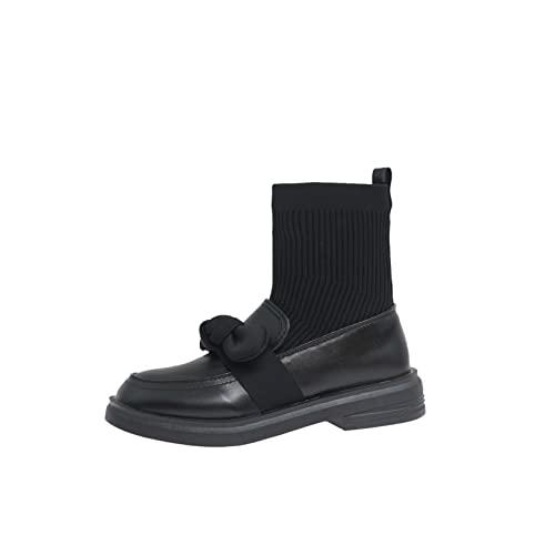 Botas de cuero para mujer, forro cálido, Retro, nudo de lazo, moda, calcetín, bota, botines planos, ligeros y ligeros, para invierno