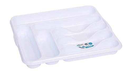 Wham Hochwertiger Besteckkasten mit 7 Fächern, Plastik, weiß, 10 x 10 x 10 cm