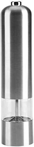 CHUNYU Macinapepe Elettrico in Acciaio Inossidabile, macinapepe Nero Regolabile Alimentato a Batteria