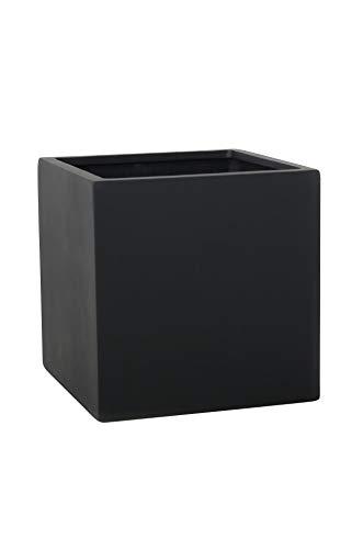 Vivanno Pflanzkübel Blumenkübel Übertopf Fiberglas Anthrazit Block 50x50x50