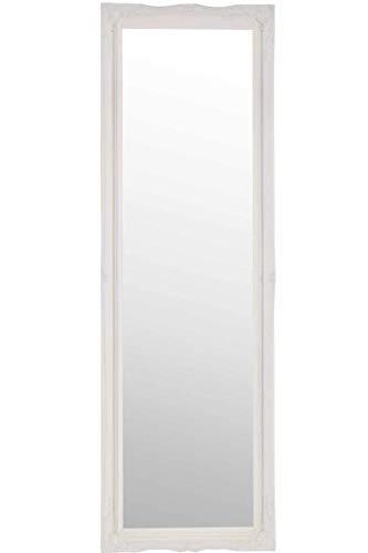 Espejo de Pared Grande Blanco con diseño Antiguo Adornado para Vestir, 122 cm x 41 cm