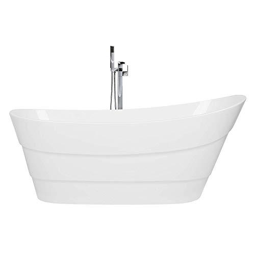 Wunderschöne, ovale, freistehende Badewanne in Weiß 170 x 73 cm Buenavista