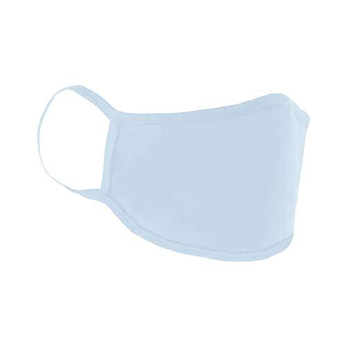 Mund-Nasen-Maske Mundbedeckung Gesichtsmaske Stoffmaske Behelfsmaske Baumwolle Waschbar (5er Pack, hellblau)