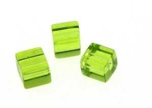 Creative-Beads glasparels kubus 5mm, sieraden zelf maken, knutselen, decoratie, kunsthandwerk, ca. 50 stuks groen