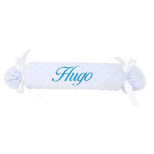 Cojín antivuelco para recién nacido de Mababy –Forma Caramelo extra suave personalizado con el nombre del bebé – Detalle para regalo de nacimiento.