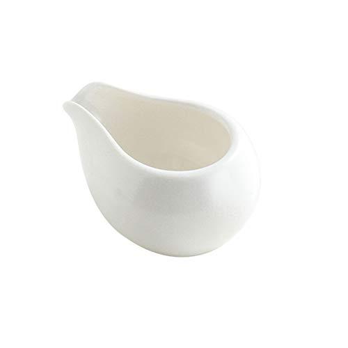 XIAOSAKU Italiano Cerámica Resistente al Calor Pequeña Leche Mini Leche Jarra Puntiagudo Boca diseño Latte Creamer Taza, Jarabe de Miel, vajilla de café de la Comida Occidental (Color : White100ml)