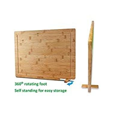 Venfon Extra Large Self Standing Bamboo Kitchen Cutting Board With Juice Groove, Reversible Heavy Duty Butcher Block, Cheese board, Chopping Carving Board, Serving Tray, 17x12.6, BPA free