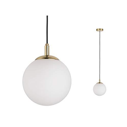 Paulmann 79733 Neordic Menja Pendelleuchte max. 1x20W Hängelampe für E27 Lampen Deckenlampe Weiß/Messing gebürstet 230V Glas/Metall ohne Leuchtmittel