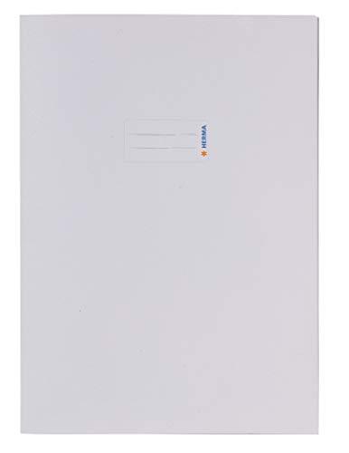 HERMA 7044 Papier Heftumschlag DIN A4 mit Beschriftungsfeld, aus kräftigem Recycling Altpapier und satten Farben, Heftschoner für Schulhefte, weiß