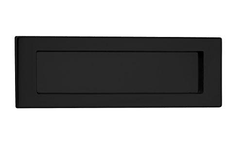 Briefeinwurf-Klappe Antik Zeitungsklappe Messing schwarz matt Postschlitz 5003 für Haustüren | Tür Einwurfklappe aus echt Messing | 280 x 90 mm | 1 Stück - Briefklappe für Wohnungseingangstüren