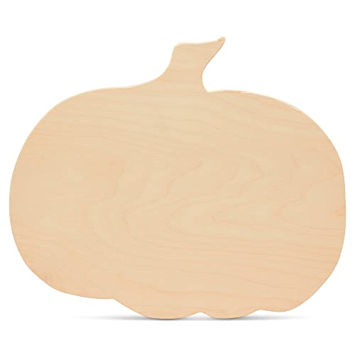 Wooden Pumpkin Cutouts, Extra Large 16 x 13.5 Inches, Package of 2 Unfinished Wooden Pumpkin Cutout Shapes, Fall, Halloween, Thanksgiving Decor by Woodpeckers