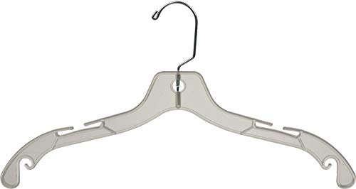 Sturdy Clear Plastic Top Hanger, Box of 100 Durable Space Saving Hangers w/ 360 degree Chrome Swivel Hook and Notches for Shirt or Dress by The Great American Hanger Company