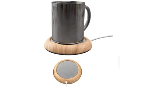Mug Warmer Coffee Mug Warmer USB Mug USB Cup Warmer Tea Milk Beverage Brown Wooden Grain Desk Mug Warmer Electric with Twining Tea Bag