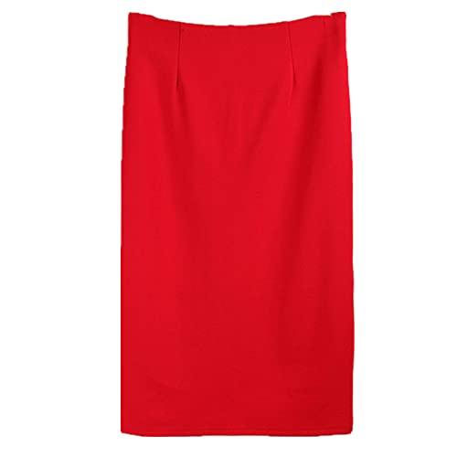 NP Más el Tamaño Negro Rojo Borgoña Falda Mujeres Desgastan Damas Split Falda Stretch