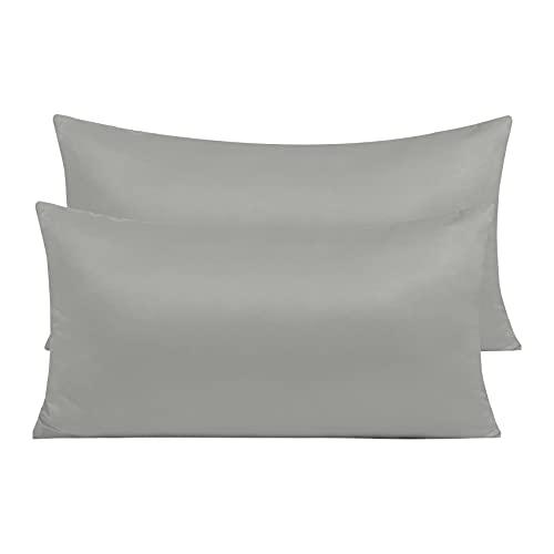 Pack 2 Fundas de Almohada de Microfibra con Cremallera Funda Almohada Transpirable Suave Antiarrugas (Gris, 45x70 cm)