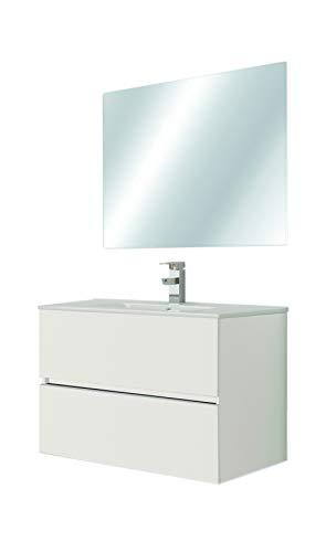 Juego de Mueble de Baño Modelo RIVIERA, Conjunto formado por Mueble de Baño Lacado en Blanco, Medidas (80x45x60), Encimera y Espejo. Compacto no precisa montaje, Cajón con Freno y Cierre Amortiguado