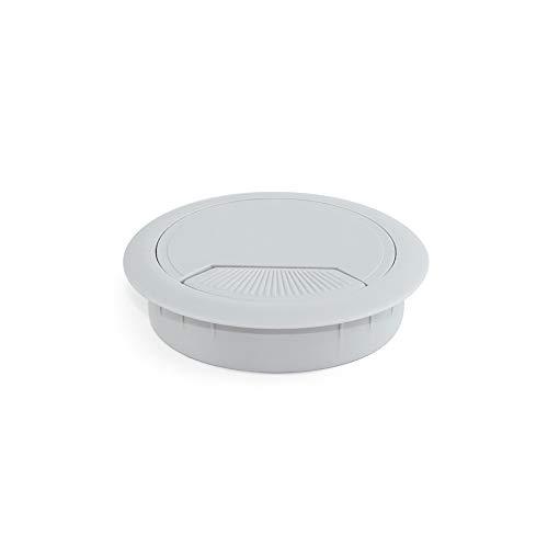 EMUCA - Pasacables de Mesa Circular Ø80mm de plástico Gris, Tapa pasacables encastrable en Mesa de Oficina/Escritorio, Lote de 4