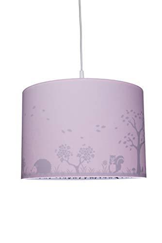 Waldi Chambre Lampe Suspension avec imprimé Chevreuil, Rose, E14
