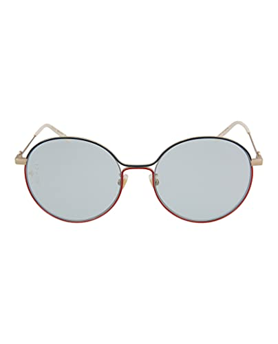 Gucci GG 0395SK 006 Gafas de sol redondas de metal dorado multicolor con lentes azules