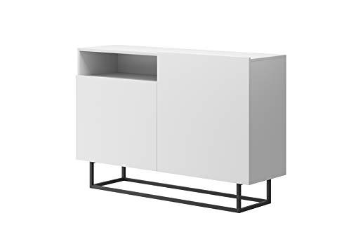 Furniture24 Kommode Enjoy EK120, Schrank, Wohnzimmerschrank, Anrichte, Mehrzweckschrank, Sideboard mit 2 Türen (Weiß)