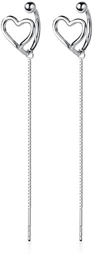 JJYGONG Pendientes de la Vendimia Sweet Hollow Heart Shape 10Cm Pendientes de Plata de Las Señoras Pendientes de Gota Mujeres Exquisito