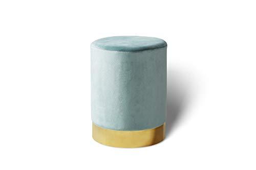 LIFA LIVING Pouf poggiapiedi in Velluto | Sgabello ottomana | Puff cilindrico con Base Oro in Metallo | per Salotto e Camera da Letto (Verde Acqua, 30 x 38 cm)