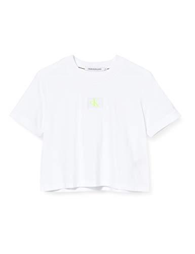 Calvin Klein Jeans Damen Ck Badge Cropped Tee Hemd, White, XS