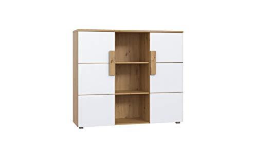 Furniture24 Kommode Libelle LBLK40 mit 2 Türen, Schrank, Highboard, Hochschrank mit 8 Einlegeboden, Jugendschrank mit Drehtüren (Artisan Eiche/Weiß)