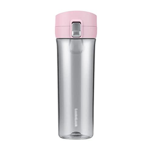 Botellitas Agua Botella De Agua Botellas De Agua Plásticas Easy Open Push Sports Water Botella De Agua para Deportes Outdoors Oficina Corriendo Gimnasio Agua (Color : Pink)