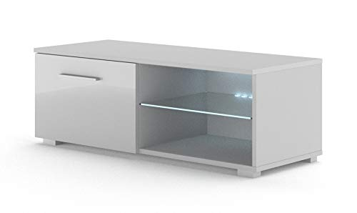 BIM Furniture TV Lowboard kast Mona 100 cm TV tafel dressoir TV commode hifi-tafel modern Lichtgrijs met LED