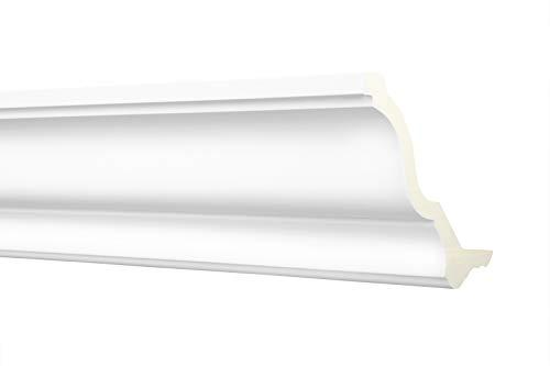 Stuckleiste AE002   indirekte LED Beleuchtung   Zierprofil   für teils abgehängte Deckensysteme   vorgrundierte Oberfläche   weiß   stabil   PU   102 x 99 mm   2 Meter
