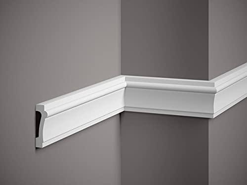 Wandleiste Mardom Decor MD007 ScratchShield® Paneelleiste Trennleiste Friesleiste weiß 2m Höhe 7.4 cm