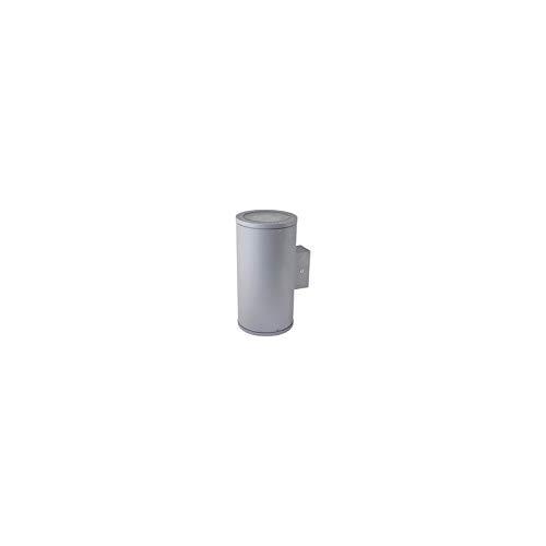 Applique halogene 2X50W aluminium grise 284X145mm 2 faisceaux indirect lampes E27 230V 1217lm T3 IK08 IP55 ILO EBENOID 079863