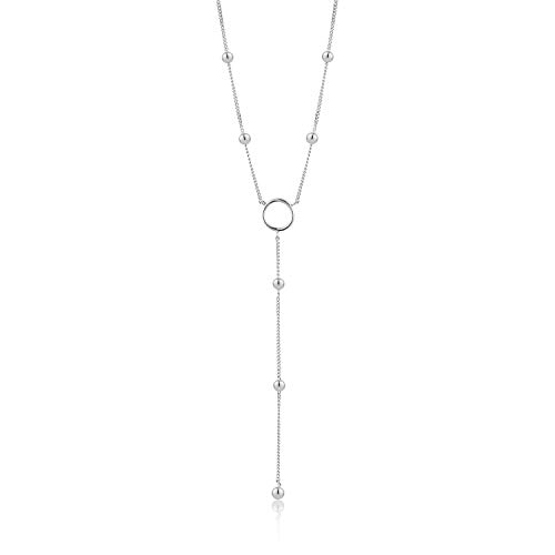 ANIA HAIE 925 Sterling Silver Long Statement Lariat Metal Ball Bead Drop Y Necklace for Women, Silver