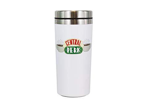 Friends Central Perk Taza de viaje | Taza de viaje reutilizable | Termo de café y té aislado | Fácil de limpiar | Mantiene las bebidas calientes | 450 ml de capacidad | a prueba de derrames y fugas