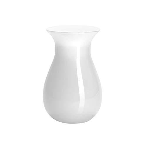 Butlers Belle Vase aus Glas Höhe 18 cm - Blumenvase als Deko - Weiße Glasvase für Blumen - Einfarbiges Wohnaccessoire