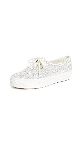 Keds Women's Kate Spade Triple Glitter Sneaker, Cream, 5.5