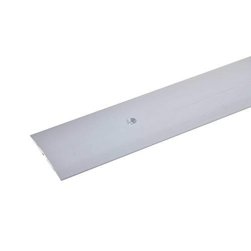 acerto 35944 Übergangsprofil aus Aluminium, mittig gebohrt, 100 cm - silber * 4x50 mm * Robust * Kratzfest | Übergangsleiste für Teppich, Laminat & Parkett | Alu Übergangsschiene