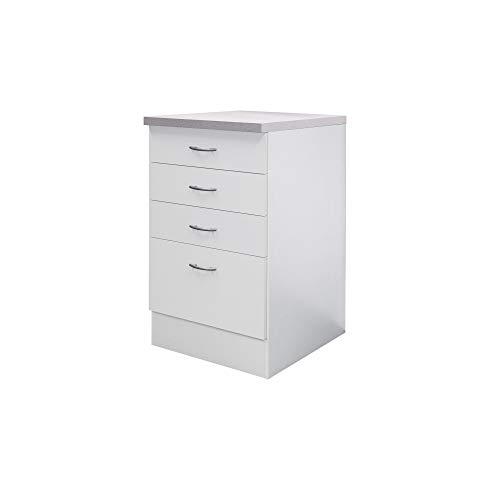 Flex-Well Küchenschrank UNNA | Auszug-Unterschrank | 1 Auszug, 3 Schubladen | Breite 50 cm | Weiß