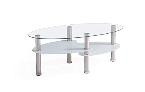 Hodedah Three Tier Oval Tempered Glass Coffee Table, Clear