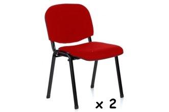 2x - Silla confidente para oficina - Silla tapizada color ROJO, ideal para oficinas, academias, autoescuelas. Permite apilar en tandas de 5 o 6 sillas.disponible en varios colores