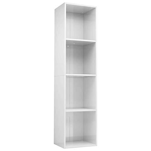 vidaXL Estantería Librería Convertible Mueble TV Estante Libros Vertical 4 Niveles Compartimentos Módulo Televisión Televisor Aglomerado Blanco Brillo