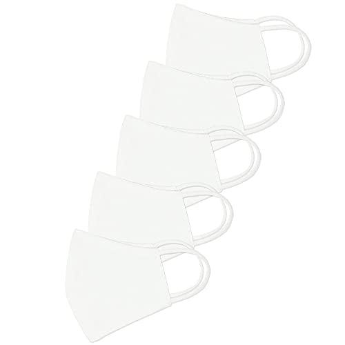 Trident Solid Mascarilla facial grande de algodón de 2 capas 5 piezas Mascarilla unisex reutilizable Moda lavable (blanco)