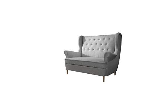 MOEBLO Ohrensofa 2 Sitzer Sofa Garnitur Stoff Samt (Velour) Glamour Wohnlandschaft Chesterfield - Kros (Hellgrau (Sawana 21))