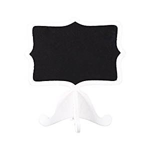 Yosooo 10Pcs Mini Wooden Chalkboard Blackboard Message Table Number Sign with Base Stand for Wedding Party Decor (White)