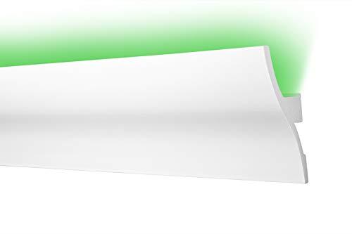 LED Zierleiste 53x120cm - effektvolle Deckengestaltung mit indirekter Beleuchtung - Stuckleiste aus hartem Styropor, leicht und stabil - 2 Meter Leiste, CK2