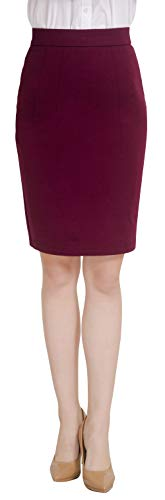 Marycrafts Women's Work Office Business Pencil Skirt S Burgundy