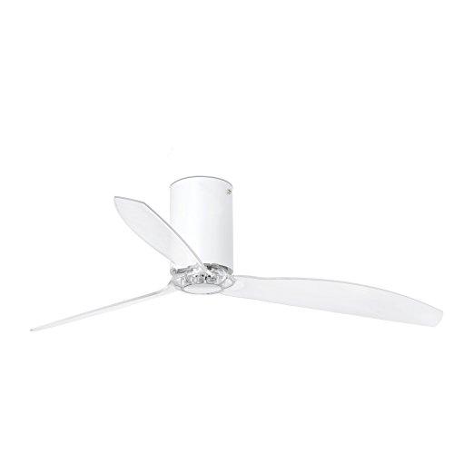 Faro Barcelona 32039- MINI TUBE FAN Ventilador de aspas para techo, cuerpo blanco y palas transparente