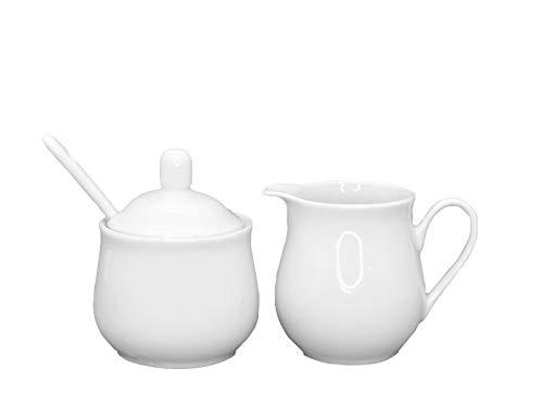 meindekoartikel Tisch-Set Milchkännchen und Zuckerdose aus Porzellan weiß