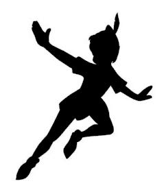 PLU Peter Pan Flying Decal Vinyl Sticker|Cars Trucks Vans Walls Laptop| Black |5.5 x 4 in|PLU823